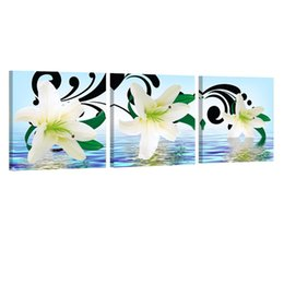 Cheap Wall Canvas Prints Australia - Cheap & Calligraphy Lily Flower Living Room Painting Canvas Wall Art Living Room Wall Decoration Picture Art Print Painting Modern