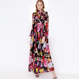 8605af3eb94 2019 Women's Runway Dresses Bow Collar Long Sleeves Floral Printed Elastic  Waist Elegant Maxi Long Casual Dresses
