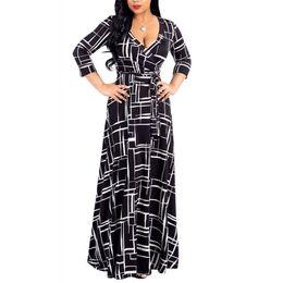 Wholesale linen beach maxi dresses for sale – plus size Plus Size Black Bohemian Long Dress Women Autumn Winter Tunic Maxi Beach Dress Gold Female Floor length Vestido