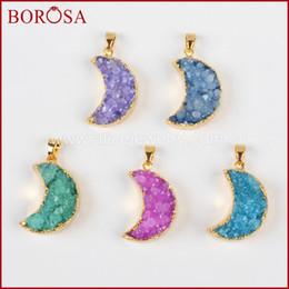 $enCountryForm.capitalKeyWord NZ - wholesale Crystal druzy pendant dyed mix-color half moon shape geode drusy stone pendant Trendy DIY jewelry making G0387