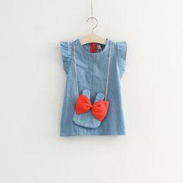 $enCountryForm.capitalKeyWord Australia - 2018 Children Clothes Summer New product loveliness Girls Denim Dress bowknot Rabbit Satchel Children Vest Dress Kids Dresses 4pcs lot TX498