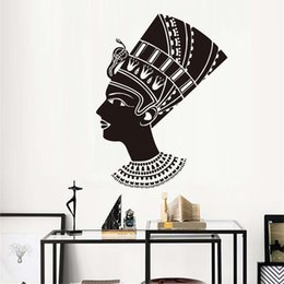 $enCountryForm.capitalKeyWord Australia - 1 Pcs Head Of Female Egyptian Wall Sticker Living Room Decoration Black Vinyl Wall Decorative Mural PVC Removable Wall Decal