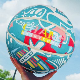 Helmet games online shopping - New Helmet Make Graffiti colorful basketball size PU Free Style Streetball Indoor outdoor training game basketball ball