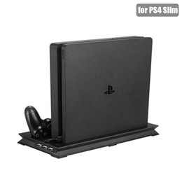 Cool Fan Slim Australia - PS4 Slim Vertical Stand with Wireless Controller Charging Dock + Cooling Fan + 3 USB Ports for Playstation 4 Slim Game Console