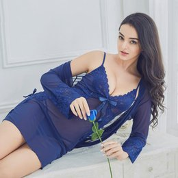 Chinese  Three Sets of Sexy Lingerie Large Size Transparent Lace Harness Uniform Ladies Sexy Pajamas Robe Suits manufacturers