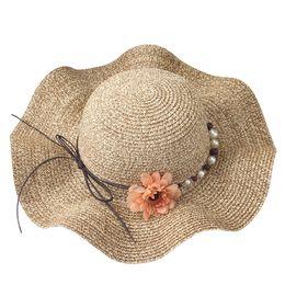 fb34fb6b Lady Pearl Wide Brim Summer Straw Hat Female Vacation Sun hats Women Girl  Large Brim Sun Visor Hat Female Beach Panama cap