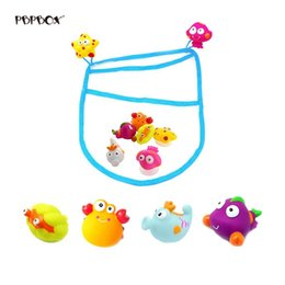 wholesale toys fishing UK - 6pcs Baby Fishing Toys Bathroom Magnetic with Storage Bag Funny Water Fishing Toy for Beach Swimming Pool Kid Pretend Play