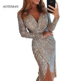 d9e0effb5f10 Sequined Autumn Winter Dress Women Sexy V-neck Bodycon Robe Dresses Casual  Vintage Plus Size Long Party Dress Ukraine T4190604