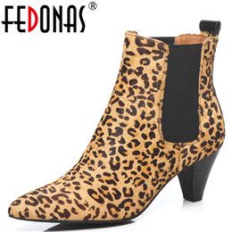 toe hair NZ - FEDONAS 1New Women Ankle Boots Autumn Winter Warm Horse Hair High Heels Shoes Woman Pointed Toe Animal Prints Zipper Basic Boots