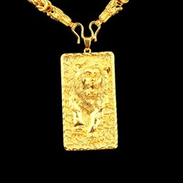 Mens Gold Lion Pendant Australia - Animal Patterned 18k Yellow Gold Filled Classic Mens Pendant Necklace Rope Chain Gift Hip Hop Style Lion Shaped Jewelry