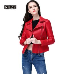 Cheap red Coats women online shopping - Women Red Leather Jacket New Spring Zipper Slim Biker Coats Female Black Motorcycle Jacket Ladies Cheap Coat Cuero Mujer
