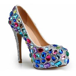 $enCountryForm.capitalKeyWord Australia - Fashion colorful crystal wedding shoes 14cm high-heeled round toe luxury rhinestone platform bridal party dress shoes EU41