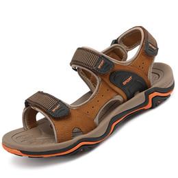 Black Leather Sandals For Men Australia - Fashion Men Sandals Leather Summer Wedges Plus Size 45 Zipper Beach Sandals For Men Hollow Cozy Solid Walking Shoes Male