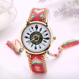 cotton rounds Australia - High Quality Women's Analog Quartz Cotton Blen Knitted Braided Bracelet Ethnic Wrist Watch 8jul