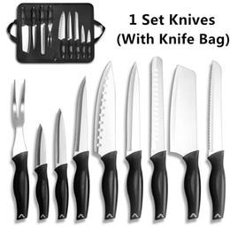 Chinese Kitchen Knife Set Australia - 9Pcs Professional Chef Knife Set Kitchen Knives Stainless Steel Knife Set with One Nylon Knife Bag