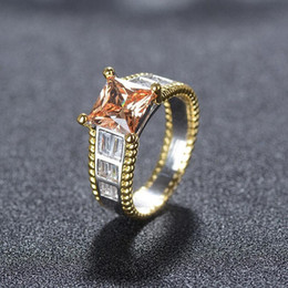 $enCountryForm.capitalKeyWord Australia - Choucong New Sparkling Luxury Jewelry 925 Sterling Silver Princess Cut Champagne Topaz CZ Diamond Women Wedding Party Finger Ring Gift