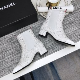 Stretch Cloth Australia - French luxury C @ anel women's boots stretch cloth patchwork design thick ladies shoes calfskin shoe box and original logo logo