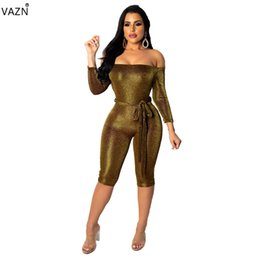 high quality jumpsuits UK - VAZN Autumn New Sexy High Quality Novelty 2019 Lady Mini Jumpsuits Solid Strapless Full Sleeve Skinny Playsuits SD9081