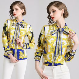 578e202ad2e26 2019 Spring Runway Luxury Baroque Print Designer Blouses Women s Ladies  Casual Office Button Front Bow Tie Neck Long Sleeve Slim Shirts Tops