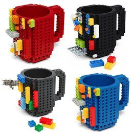Build Block Minifigures Australia - Building Blocks Mugs DIY Block Puzzle Type Coffee Cup Novelty Tumbler Decompression Toys For Adults Kids Minifigures Designer