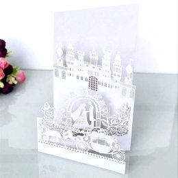 Card laser designs online shopping - White Invitation Card Laser Hollow Out Greeting Cards Four Fracture Design Wedding Decorate Supplies Castle Pearl Light Paper dsC1