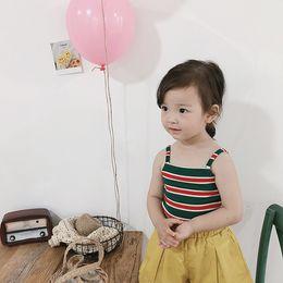 $enCountryForm.capitalKeyWord NZ - Korean style kids cotton knitted cute striped short Tops baby girls fashion slip vests 1-7Y clothes