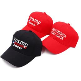 Ingrosso Crea America Great Again Cappello Donald Trump 2020 Berretti da baseball Ricamo Sport Rosso Cappello nero per donna Uomo U S Presidente B1