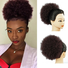 Home African Afro Short Kinky Curly Wrap Drawstring Puff Ponytail Bun Extension Synthetic Hair Large Round Ponytail Matching In Colour