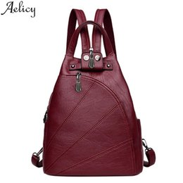 clear color backpack 2020 - Aelicy Natural Leather Backpack Shoulder Bag Women Backpack Solid Color Retro Zipper Backpacks For School Teenagers Girl