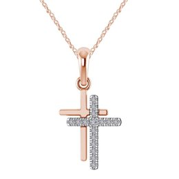 necklace three crosses Canada - New fashion women gold   rose gold  silver double cross necklace three-color diamond pendant collar necklace fashion accessories