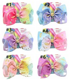 $enCountryForm.capitalKeyWord NZ - 12Styles Jojo Siwa Hair Bow With Clips Papercard Metal Logo Girls Giant Rainbow Rhinestone 8 inch Hair Accessories Hairpin hairband
