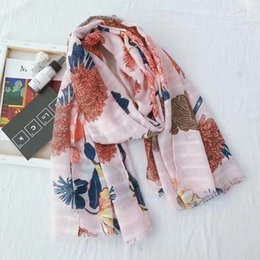 Scarfs Cotton Australia - Fashion Lady Scarf Spring and Summer Sweet Flower Cotton and Linen Printing Long Paragraph Demolition Wild Decorative Shawl