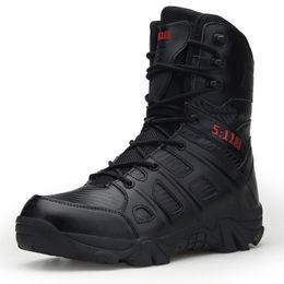 Мужчины высокое качество бренд кожаные сапоги специальные силы тактические пустыни боевые мужские сапоги открытый обувь лодыжки XX-339 на Распродаже