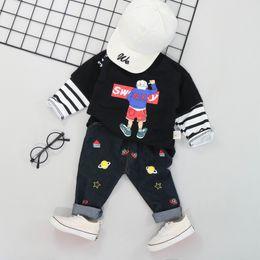 $enCountryForm.capitalKeyWord Australia - Baby Clothes Autumn Children Boys Casual Long Sleeve Cartoon Print Blouse Tops+Black Print Denim Trouser Costume Set