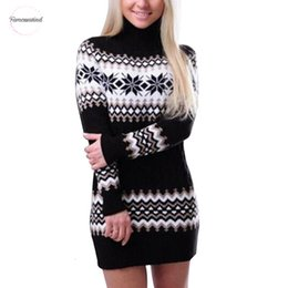 mini long loose sweater dresses Australia - Slim Winter Women Sweater Dress Knitted Turtleneck Long Sleeve Loose Solid Dress Sweaters Pullovers Streetwear Dresses Designer Clothes