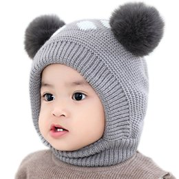 ear props UK - Baby Hat Baby Winter Velvet Ball Ear Cap Kids' Autumn Dot Hat Neck Warmer Cap Newborn Photography Prop for Infant Boys and Girls