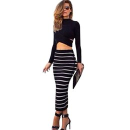26cae299e335d Set (2pcs) Summer Women Dress Suit Long Sleeve Black Crop Top Tees Pencil  Midi Skirt Striped Bodycon Dress Club Suit