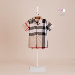 Büyük Erkek Ekose Gömlek Tasarımcı Stil Çocuk Yaka Kısa Kollu Gömlek Eski Çocuklar Pamuk Rahat Tops Marka Boys Giyim 6-12 T A2198