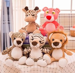 toy jungle dolls Australia - 25cm Forest Animals Stuffed Doll Plush Jungle Series Animal Lion Tiger Leopard Giraffe Pink Panther Toys Kids Gift