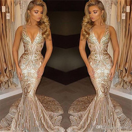 Wholesale African New Luxury Gold Sexy V Neck Prom Dresses Mermaid Evening Gowns Vestidos Special Occasion Dresses Evening Wear Custom Made
