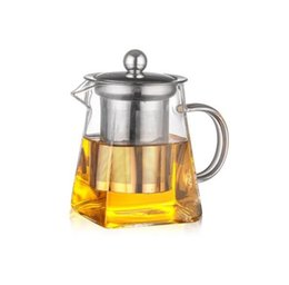 China Clear Borosilicate Glass Teapot With Stainless Steel Infuser Strainer Heat Resistant Loose Leaf Tea Pot Kettle Set supplier teapot wholesalers suppliers
