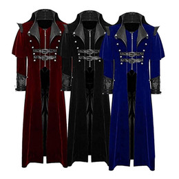 Red coat cosplay online shopping - Classic Cosplay Vampire Suit Jacket Solid Long Veste Costume Homme Slim Blet Jackets For Men Fashion Long Sleeve Cos Coat