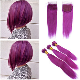brazilian straight hair 3bundles 18 inches Australia - Brazilian Human Hair Purple Color Weaves with 4x4 Lace Closure Pure Purple Virgin Human Hair 3Bundles Straight with Top Closure 4Pcs Lot