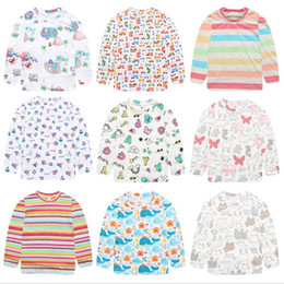 wholesale baby tee shirt NZ - Kids Shirts Cotton Baby Boy T Shirt Printed Baby Girls Tees Long Sleeve Children Tops Cartoon Baby Clothes Kids Clothing 7 Colors DHW2464