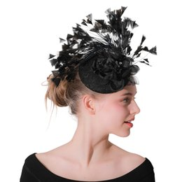 vintage headpieces hats UK - Vintage Hair Accessory Women Feather Fascinator Hair Clips Elegant Wedding Bridal Party Headpiece Cocktail Headwear M200