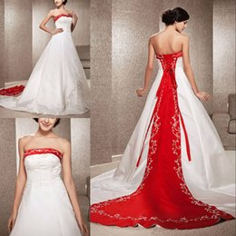 $enCountryForm.capitalKeyWord Australia - Elegant A-line Strapless Satin Wedding Dresses with Embroidery Beads Backless Lace-up Back Court Train Mixed Color Custom Made Bridal Gowns