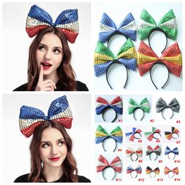 Headband dots online shopping - American flag dot headband big bow bowknot sequin fabric flag hoop United States Independence National Day hair stick FavorAAA2103
