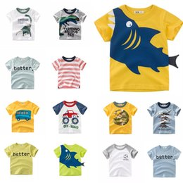 Infant Boys Fashion Australia - Free DHL Designing Boys Tees Summer Infant Cotton Girls Tee Cartton Car Dinosaur TODAY SharK STOP AWESOME Letters T-shirts Suits For 1-10T