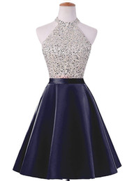 Green ball Gown prom dresses online shopping - Halter Neck Satin Short Homecoming Dresses Beaded Prom Gowns Knee Length Party Dress Royal Blue Navy Red