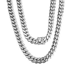 Heavy curb silver bracelet online shopping - 14mm Silver Tone Stainless Steel Big Heavy Curb Chain Bracelet or Necklace for Men Boy Jewelry Hip Hop quot